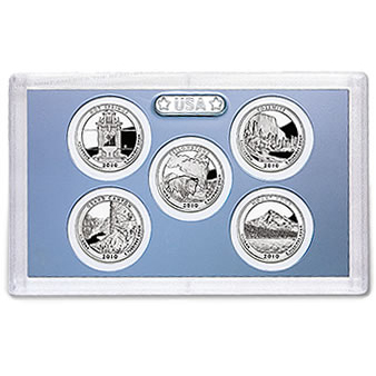 US Proof Set America the Beautiful Quarters Without Box 2010