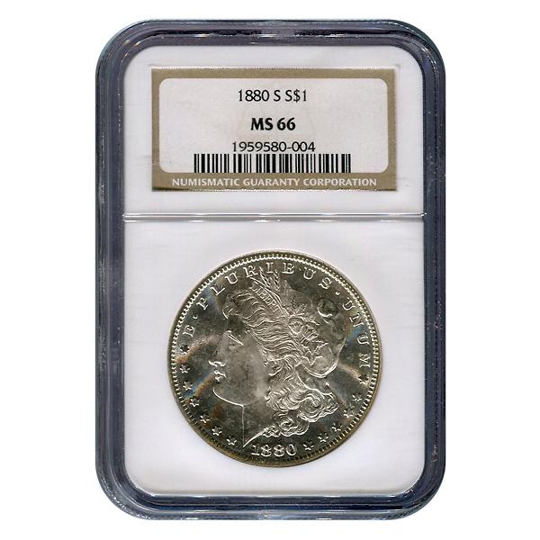 Certified Morgan Silver Dollar 1880-S MS66 NGC