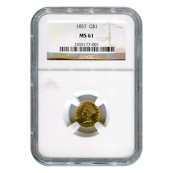 Certified US Gold $1 Liberty MS61 type 3 (Dates Our Choice) PCGS or NGC