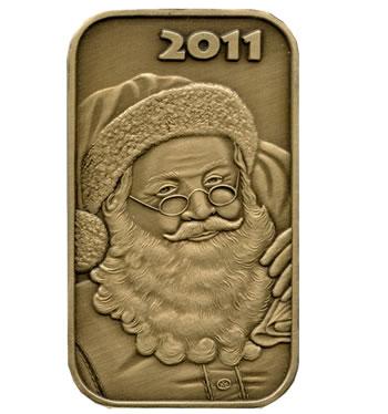 Christmas 2011 Bronze Bar X-1 Santa (with ornament holder)