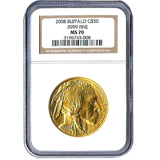 Certified Uncirculated Gold Buffalo 2008 MS70