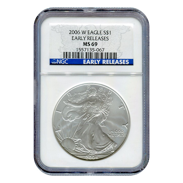 Burnished 2006-W Silver Eagle MS69 Early Release NGC
