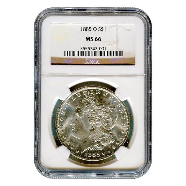 Certified Morgan Silver Dollar 1885-O MS66 NGC