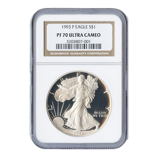 Certified Proof Silver Eagle 1993 PF70 NGC