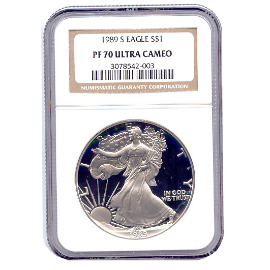 Certified Proof Silver Eagle 1989 PF70 NGC