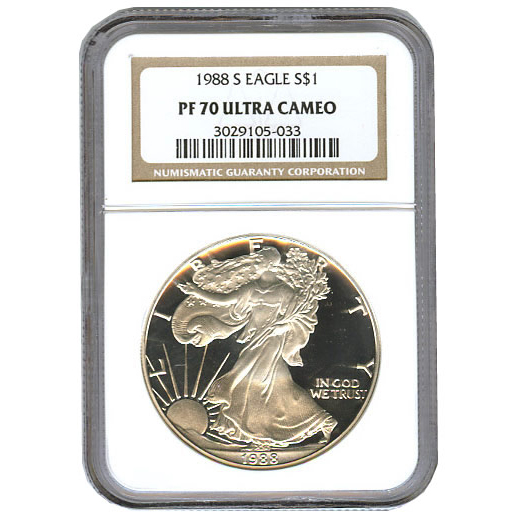 Certified Proof Silver Eagle 1988 PF70 NGC