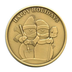 Christmas 2011 Bronze Round X-11 Happy Holidays (with ornament holder)