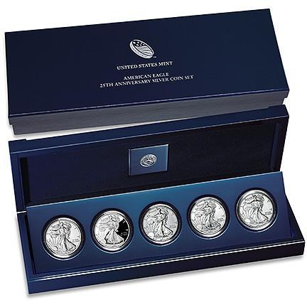 2011 American Eagle 25th Anniversary 5pc Silver Set Original Box