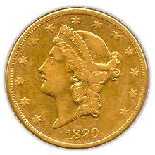 Early Gold Bullion $20 Liberty Extra Fine