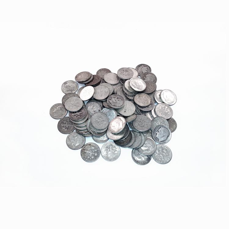 90% Silver Roosevelt Dimes 100 pcs.