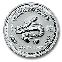 2001 Australia 2 oz Silver Lunar Snake