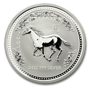 2002 Australia 2 oz Silver Lunar Horse