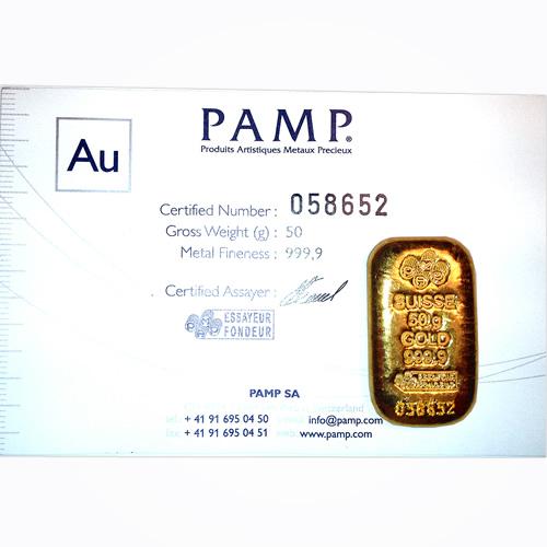 PAMP Suisse 50 Gram Gold Bar - Poured Design