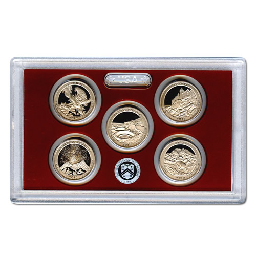 US Proof Set America the Beautiful Quarters Without Box 2012