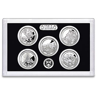 US Proof Set America the Beautiful Silver Quarters Without Box 2012