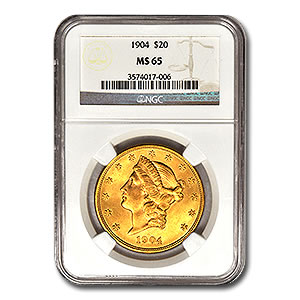 Certified US Gold $20 Liberty MS65 (Dates Our Choice) PCGS or NGC