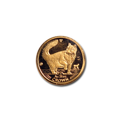 Isle of Man Gold Cat 25th Ounce 1991