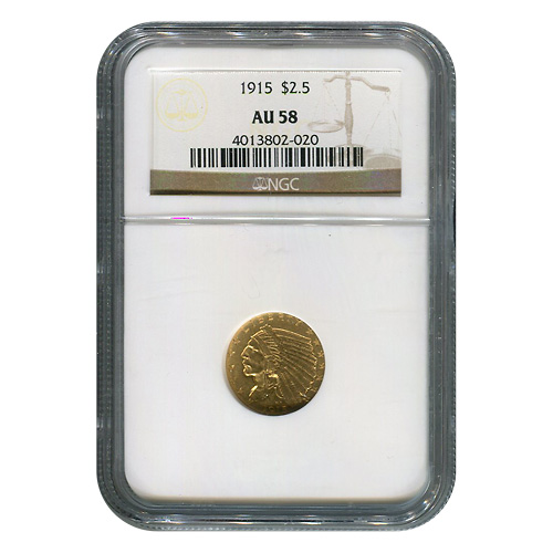 Certified US Gold $2.5 Indian 1915 AU58 NGC