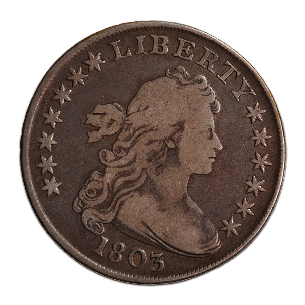 Draped Bust Dollar Heraldic Eagle Reverse 1803 Large 3 Fine