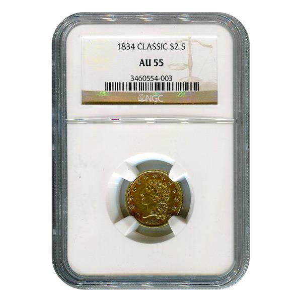 Certified $2.5 Gold Liberty 1834 Classic AU55 NGC