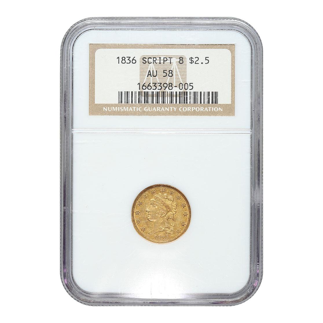 "Certified $2.5 Gold Liberty 1836 Classic Head ""Script 8"" AU58 NGC"