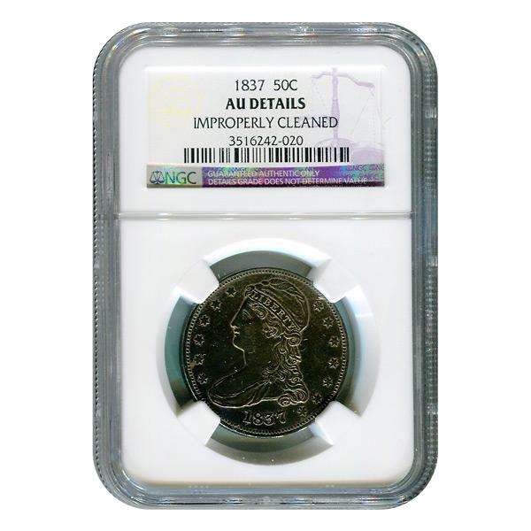 Certified Bust Half Dollar 1837 AU Details NGC