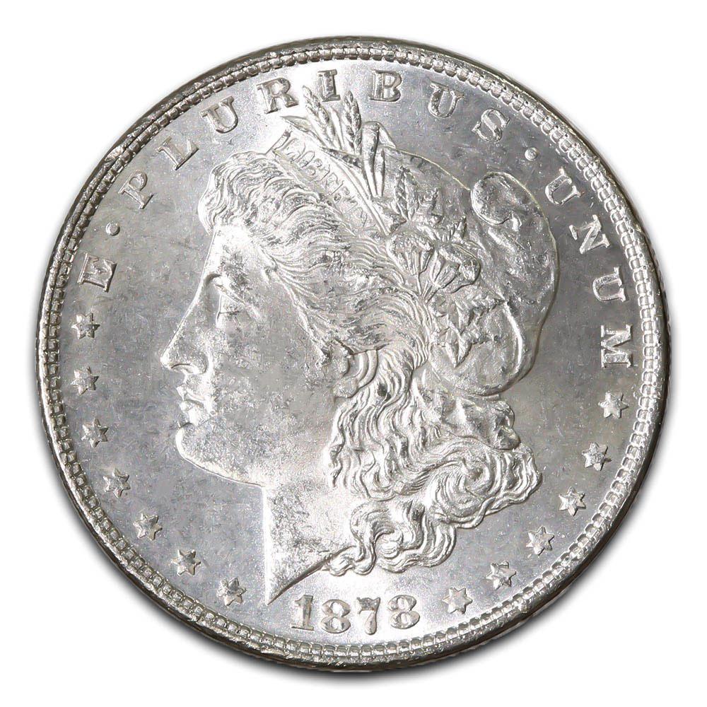 Morgan Silver Dollar Uncirculated 1878 7 over 8