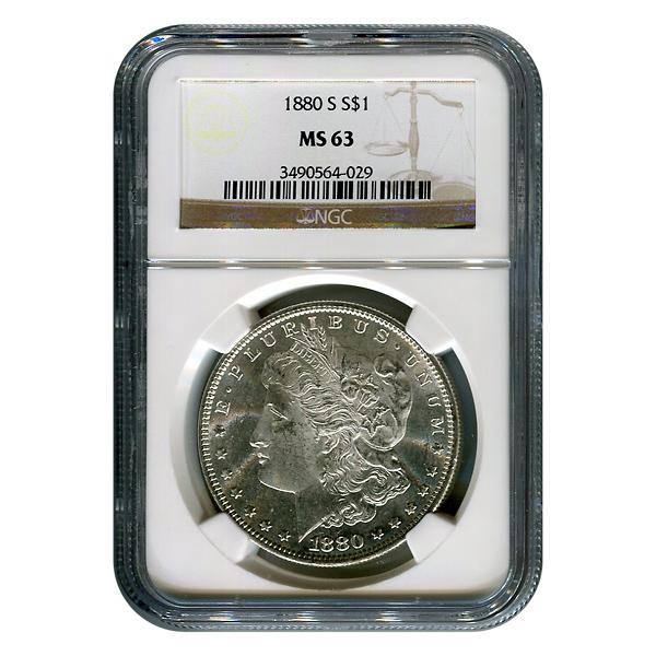 Certified Morgan Silver Dollar 1880-S MS63 NGC