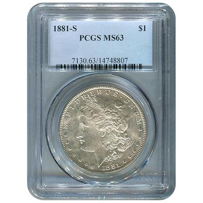 Certified Morgan Silver Dollar 1881-S MS63 PCGS