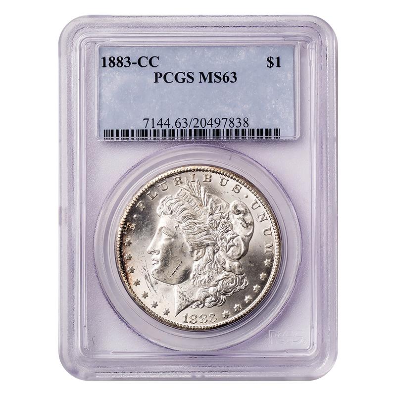 Certified Morgan Silver Dollar 1883-CC MS63 PCGS