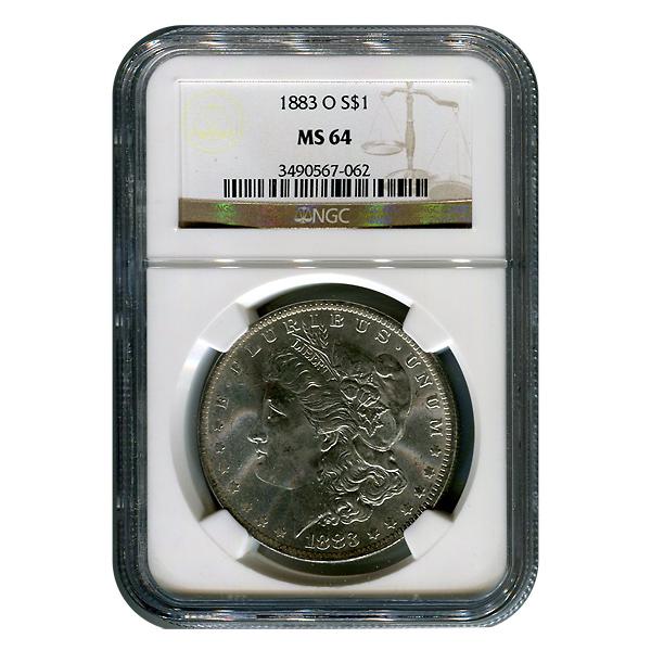 Certified Morgan Silver Dollar 1883-O MS64 NGC