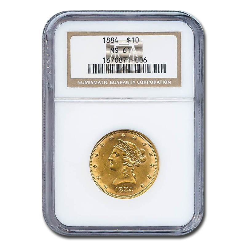 Certified $10 Gold Liberty 1884 MS61 NGC