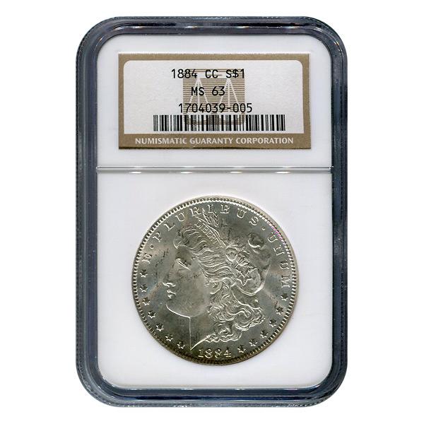 Certified Morgan Silver Dollar 1884-CC MS63 NGC