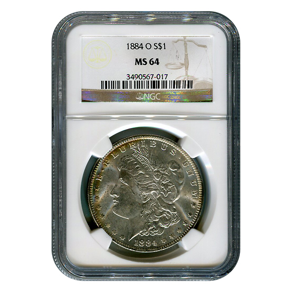 Certified Morgan Silver Dollar 1884-O MS64 NGC