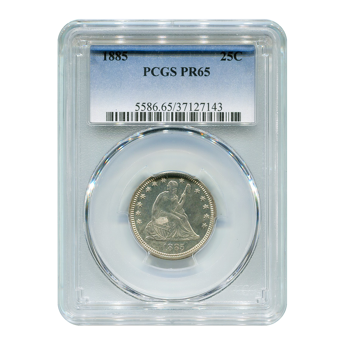 Certified Proof Seated Liberty Quarter 1885 PR65 PCGS