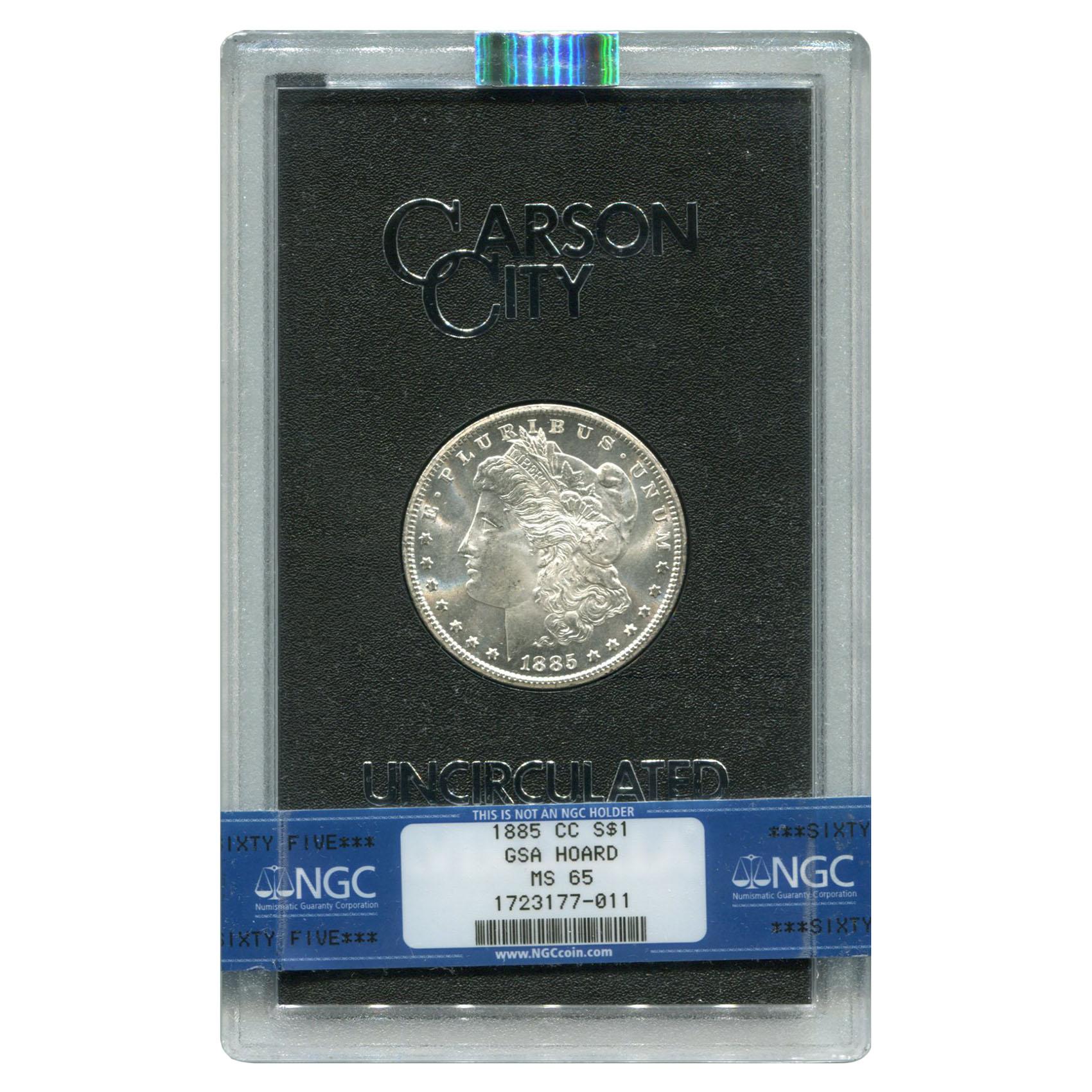 Carson City Morgan Silver Dollar 1885-CC GSA MS65 NGC