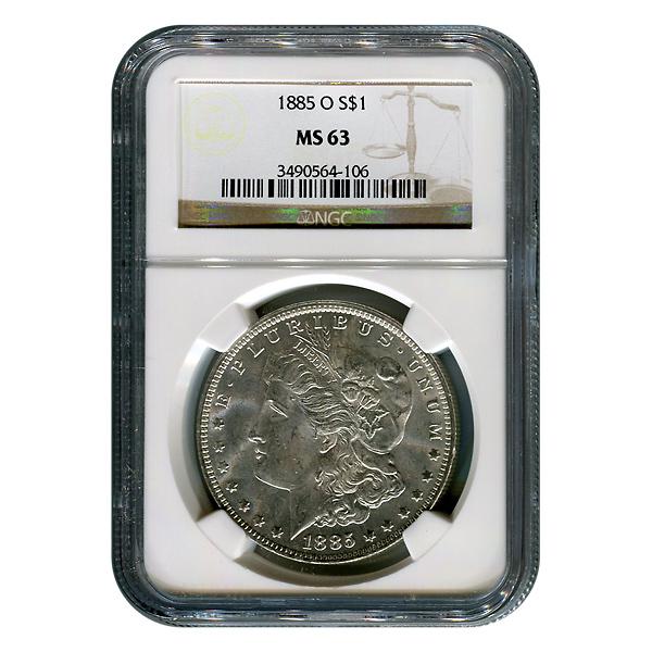 Certified Morgan Silver Dollar 1885-O MS63 NGC