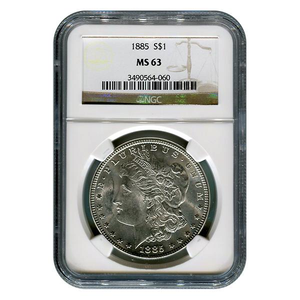 Certified Morgan Silver Dollar 1885 MS63 NGC