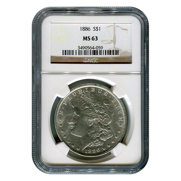 Certified Morgan Silver Dollar 1886 MS63 NGC