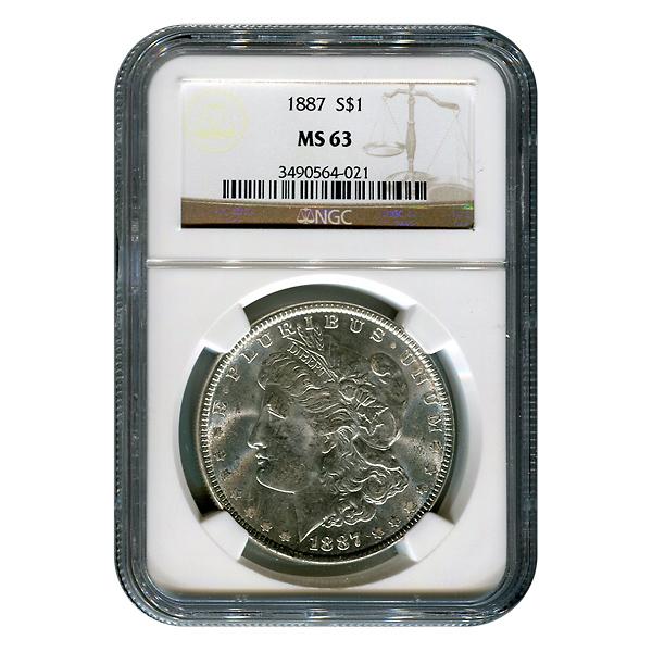 Certified Morgan Silver Dollar 1887 MS63 NGC