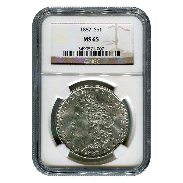 Certified Morgan Silver Dollar 1887 MS65 NGC