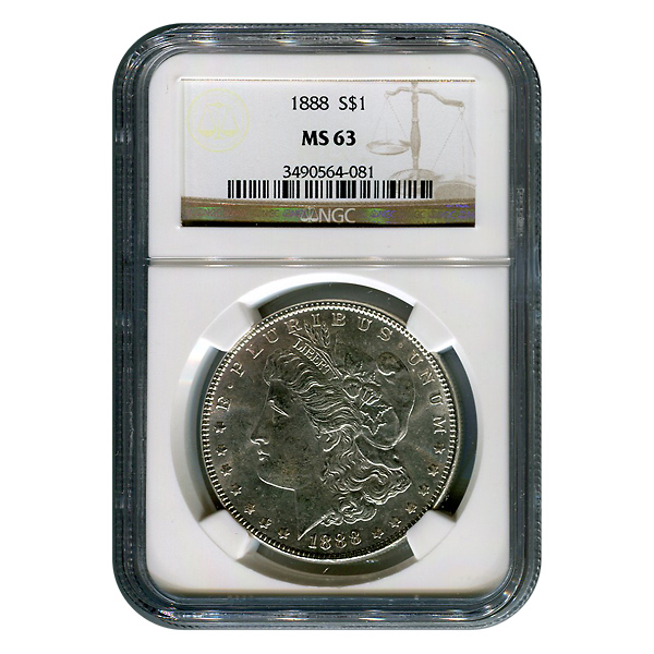 Certified Morgan Silver Dollar 1888 MS63 NGC