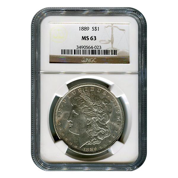 Certified Morgan Silver Dollar 1889 MS63 NGC