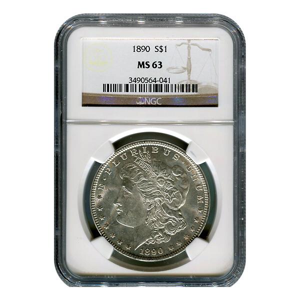 Certified Morgan Silver Dollar 1890 MS63 NGC