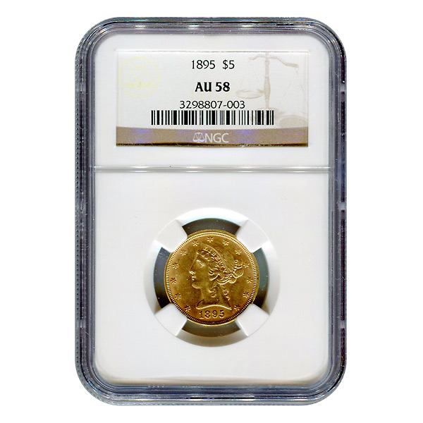 Certified $5 Gold Liberty 1895 AU58 NGC