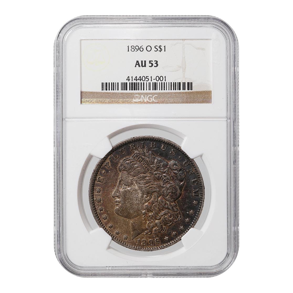 Certified Morgan Silver Dollar 1896-O AU53 NGC