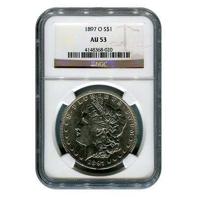 Certified Morgan Silver Dollar 1897-O AU53 NGC