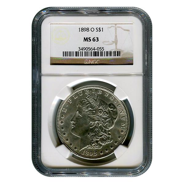 Certified Morgan Silver Dollar 1898-O MS63 NGC