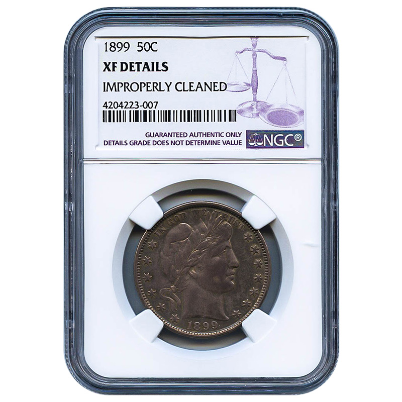 Certified Barber Half Dollar 1899 XF Details (Improperly Cleaned) NGC