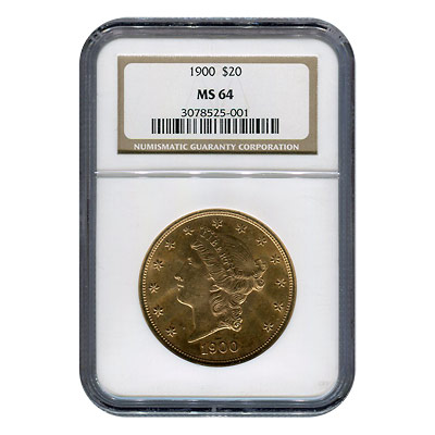 Certified US Gold $20 Liberty 1900 MS64 NGC